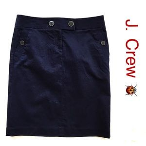 J.Crew Pencil Skirt Size 4 Cotton Stretch Navy